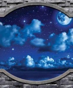 Fototapet med motivet: moln Himmel Stjärnor månen Natt