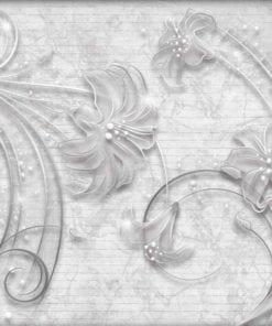 Fototapet med motivet: Blommor abstrakt Silvergrå