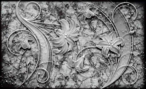 Fototapet med motivet: Blommor abstrakt Silver Grå Svart