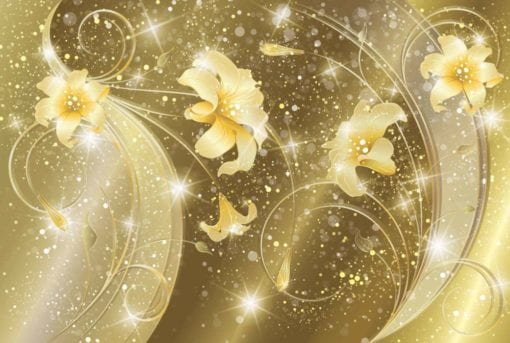 Fototapet med motivet: Blommor abstrakt Guld Gul