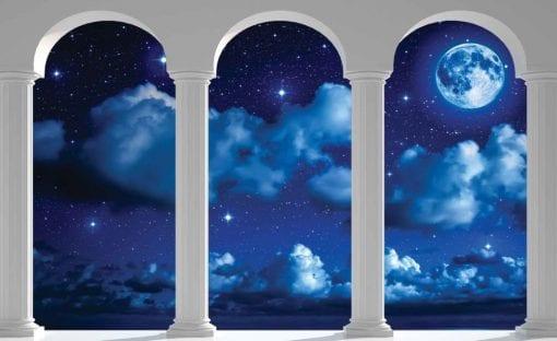 Fototapet med motivet: Himmel Blå Moon Pelare Bågar