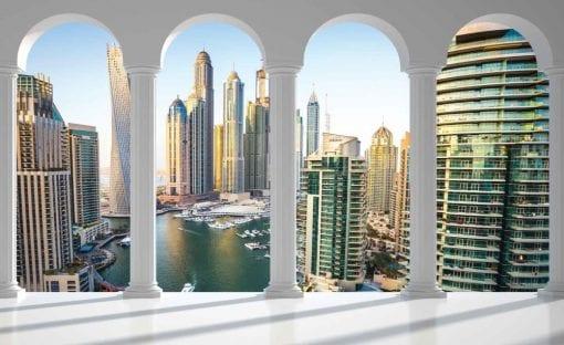Fototapet med motivet: Dubai Stad horisont Marina Bågar