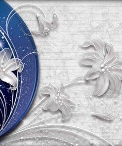 Fototapet med motivet: Bå Silver Blommor abstrakt