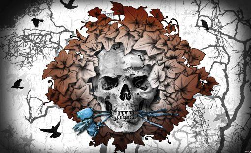 Fototapet med motivet: Alkemi Skalle Blommor Tatuering