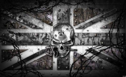 Fototapet med motivet: Alkemi Skalle Union Jack Tatuering