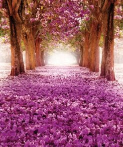 Fototapet med motivet: Blommor Träd Gång Rosa