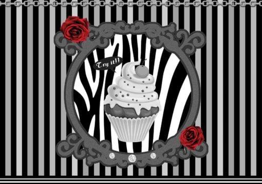 Fototapet med motivet: Cupcake Ränder Grå