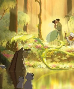 Fototapet med motivet: Disney Princesses Tiana Groda Kyss Prinsessor