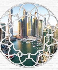 Fototapet med motivet: Dubai Stad horisont Marina Fönster