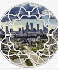 Fototapet med motivet: Warszawas Skyline Fönster