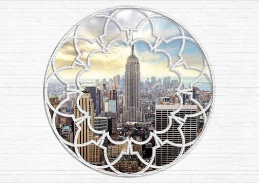 Fototapet med motivet: New York City horisont Fönster