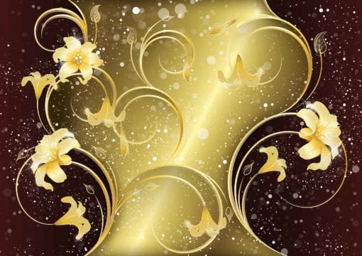 Fototapet med motivet: Guld Blommönster