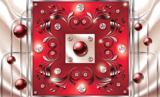 Fototapet med motivet: Röd Diamant Abstrakt Modern