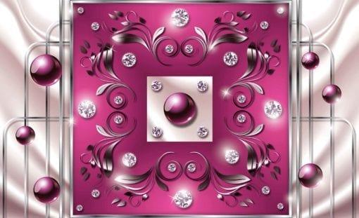 Fototapet med motivet: Rosa Diamant Abstrakt Modern