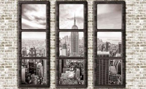 Fototapet med motivet: New York City horisont Fönster Utsikt