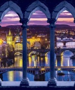 Fototapet med motivet: Utsikt över staden Kväll