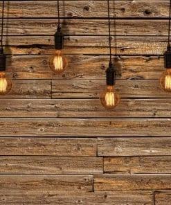 Fototapet med motivet: Glödlampor Trä Planket