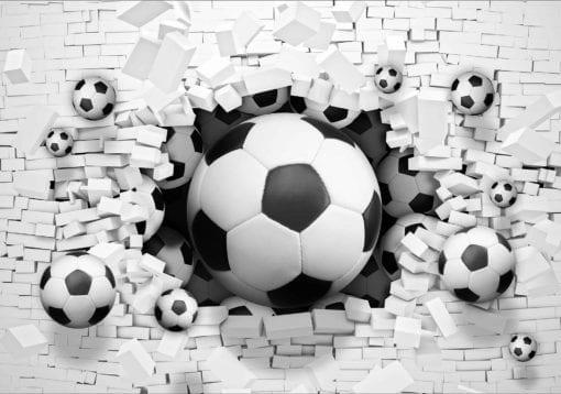 Fototapet med motivet: Fotboll genom väggen