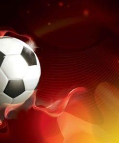 Fototapet med motivet: Fotboll röd och gul