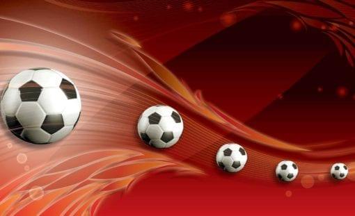 Fototapet med motivet: Fotboll Röd Track