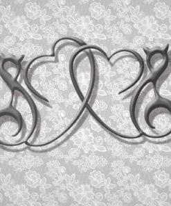 Fototapet med motivet: Abstrakt Hjärtmotiv Silvergrå