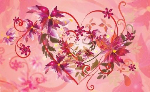 Fototapet med motivet: Abstrakt Konst Blommor Hjärta