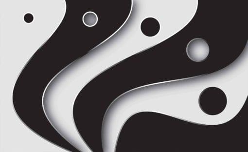 Fototapet med motivet: Abstrakt modell modern svart vit