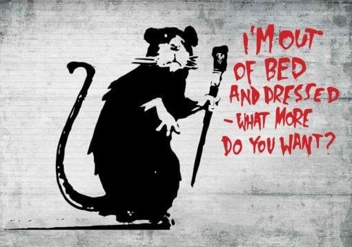 Fototapet med motivet: Banksy Graffiti Råtta betongvägg