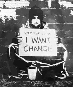 Fototapet med motivet: Banksy Graffiti Tegelsten Vägg