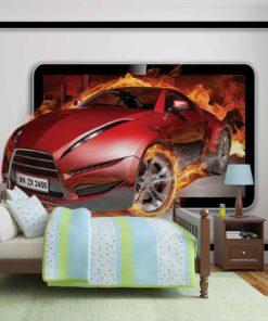 Fototapet med motivet: Bil Flammor
