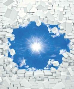 Fototapet med motivet: Blå Himmel Tegelsten
