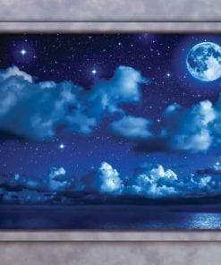 Fototapet med motivet: Blå Natt Himmel Fönster Utsikt