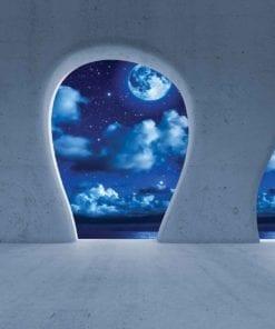 Fototapet med motivet: Blå Natt Himmel Utsikt Modern