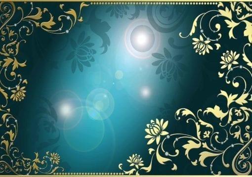 Fototapet med motivet: Blommönster Guld Blå