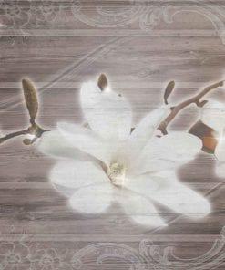 Fototapet med motivet: Blomma träplankor