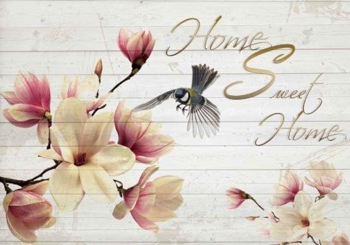 Fototapet med motivet: Blommor Bird Trä Plankor Hem