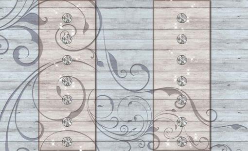 Fototapet med motivet: Blommor Design träplank