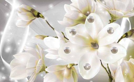 Fototapet med motivet: Blommor Pearls Vit
