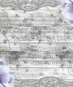 Fototapet med motivet: Blommor Plankor Vintage