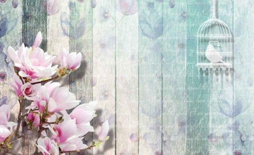 Fototapet med motivet: Blommor och Fågelbur