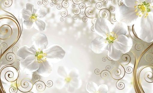 Fototapet med motivet: Blommor virvlar runt