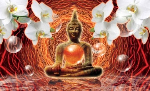 Fototapet med motivet: Buddha Zen blommor Orkidéer 3D Bubblor