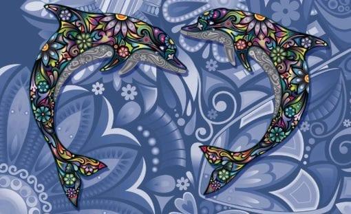Fototapet med motivet: Delfiner Blommor Abstrakt Färger