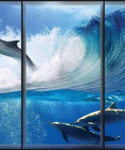 Fototapet med motivet: Delfiner Hav Våg Hopp