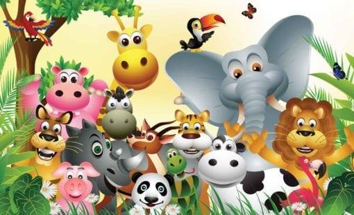 Fototapet med motivet: Djur Djungel Elefant Tiger Kossa Pig
