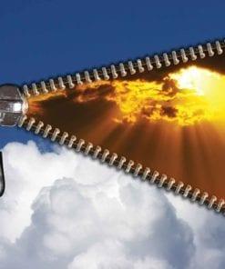 Fototapet med motivet: Dragkedja Himmel moln Sol Ljusstråle ljus