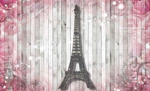 Fototapet med motivet: Eiffeltornet Blommor Rosa trävägg