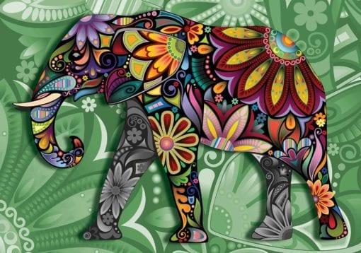 Fototapet med motivet: Elefant Blommor Abstrakt Färger