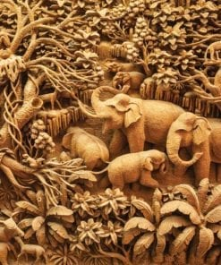 Fototapet med motivet: Elefanter Djungel Sepia
