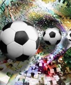 Fototapet med motivet: Färgglad Pussel Fotboll